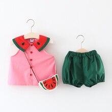 Комплекты одежды для девочек новые летние детские футболки без рукавов с рисунком фруктов и арбуза+ синие шорты+ сумка, костюм из 3 предметов комплекты для девочек