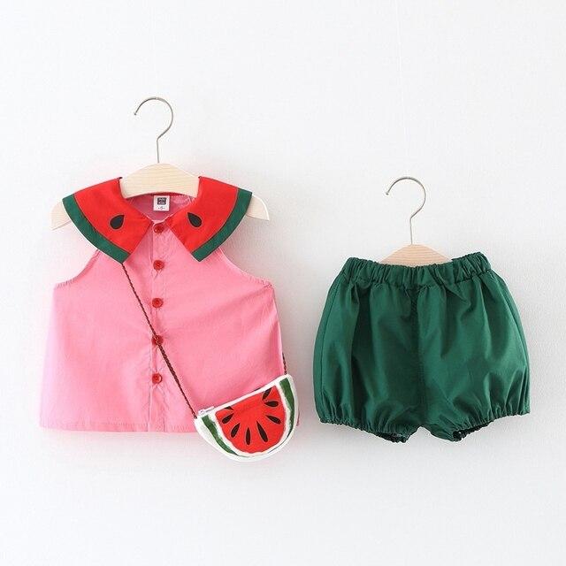 Комплекты одежды для девочек новые летние детские футболки без рукавов с рисунком фруктов и арбуза + синие шорты + сумка, костюм из 3 предметов комплекты для девочек