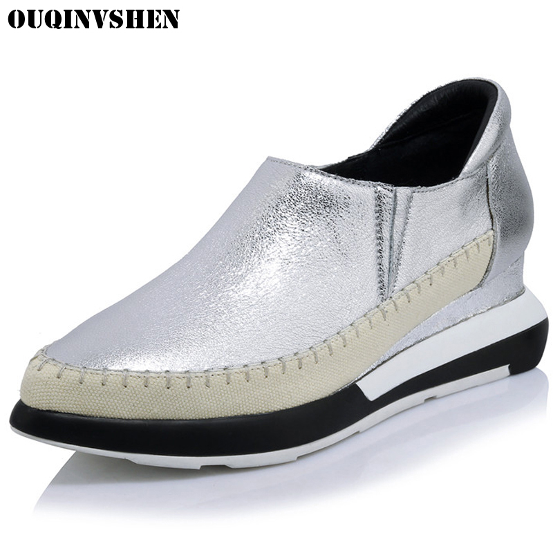 OUQINVSHEN Wedges Genuine Leather Flats Fashion Women Brand Casual Flats Shallow Pointed Toe Casual Flat Shoes New Bling Loafers 2016 autumn fashion women full grain leather flat heel white shoes student bling round toe leather brand basic flats loafers