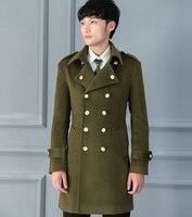 Marka Sonbahar/Kış için Yeni Tasarım Yün Ceket erkek Kruvaze Slim Fit Askeri Ordu Yeşil Palto Erkek Dış Giyim