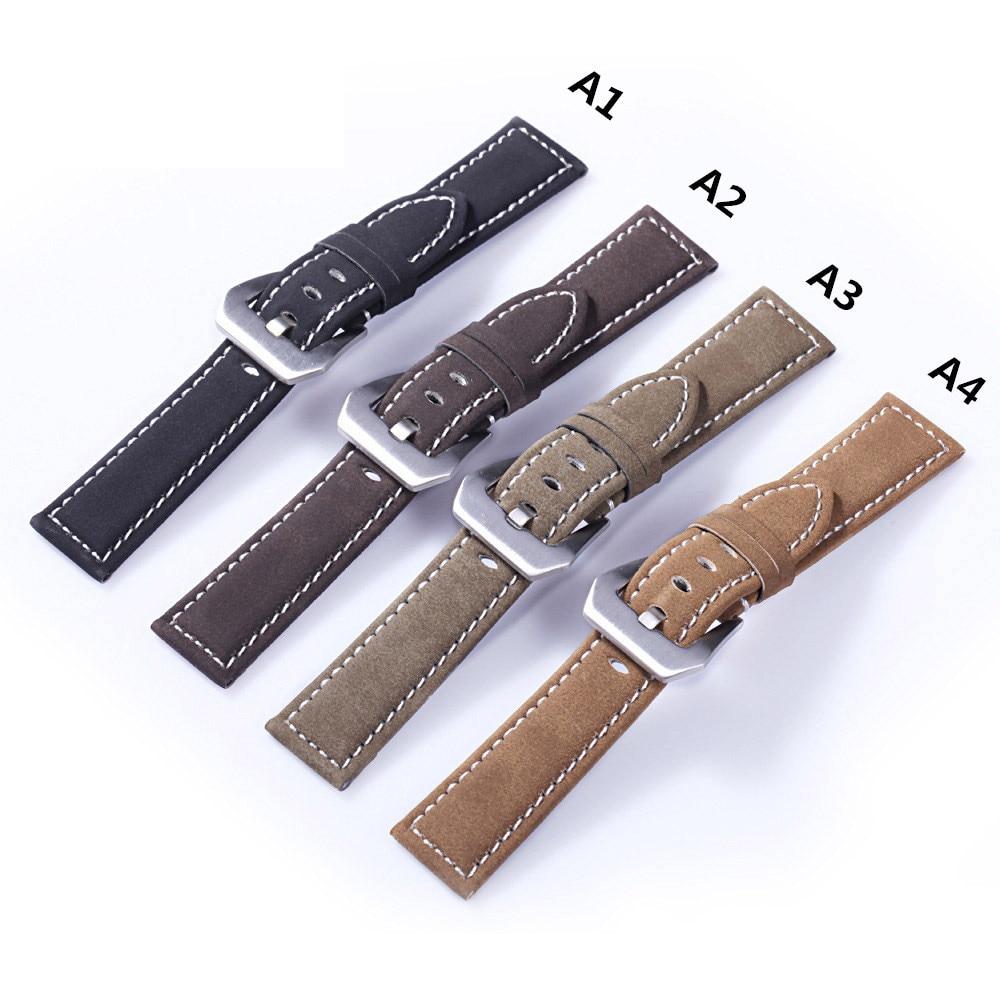купить 2017 new 1PCS watchband strap 20MM 22MM 24MM 18MM genuine leather Crazy horse leather Watch band watch strap man watch straps по цене 276.97 рублей
