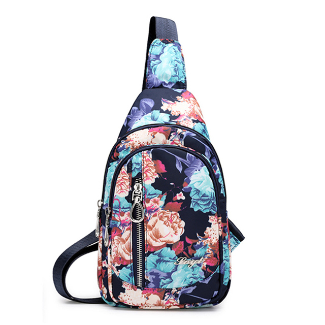 Fashion Floral Pattern Women Chest Bag High Quality Waterproof Nlylon Cross Body Bag Casual National Sling Messenger Bag Female