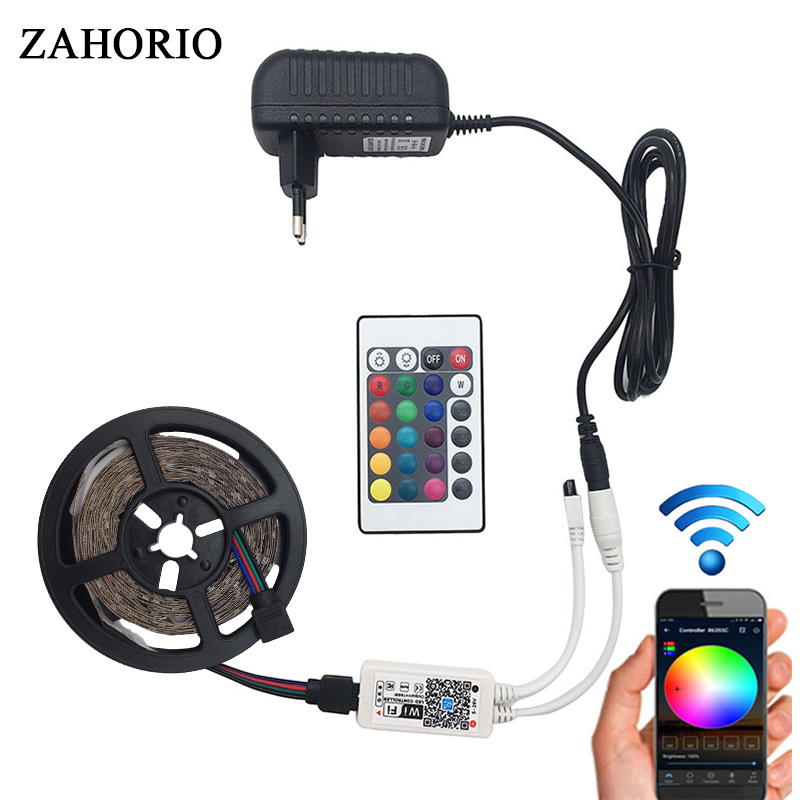 5M 5050 2835 RGB WIFI LED Strip light Waterproof 10M 15M led ribbon tape Remote WIFI Wireless Controller 12V power adapter Kit