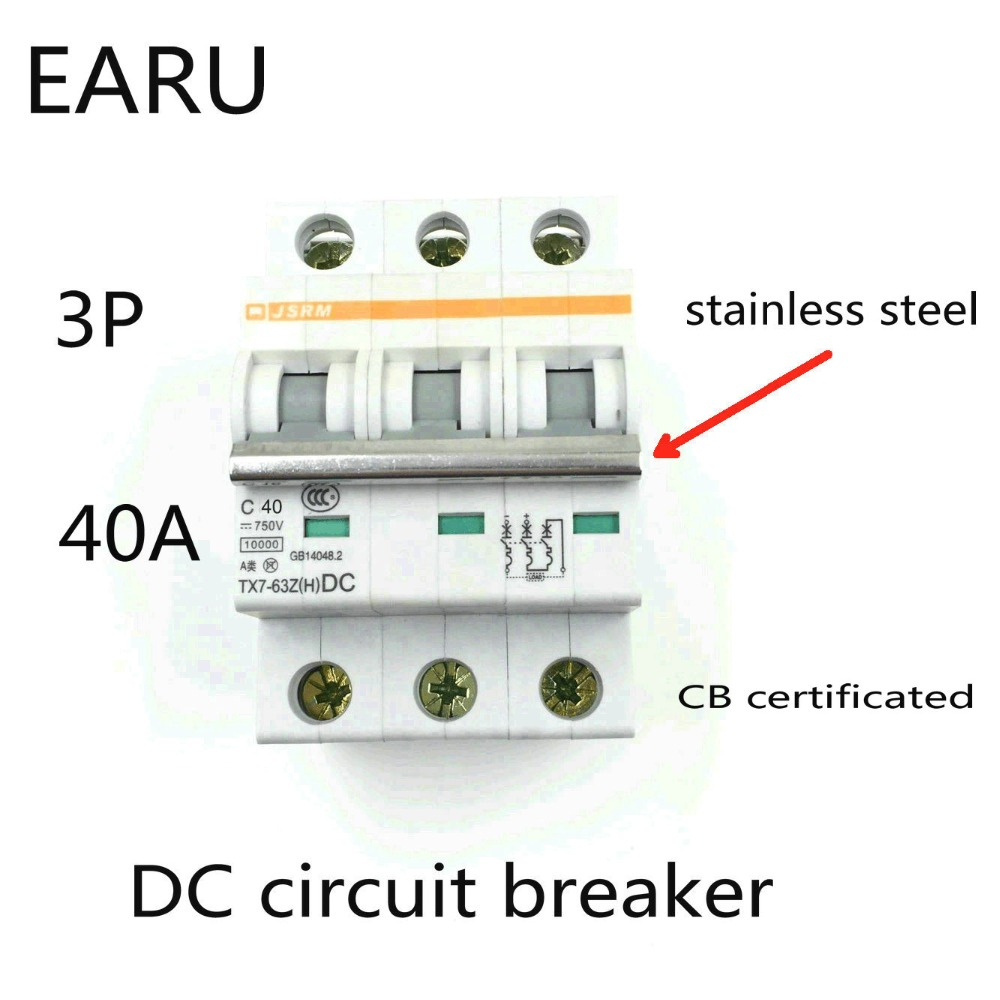 3P 40A DC 750V DC Circuit Breaker MCB for PV Solar Energy Photovoltaic System Battery C curve CB Certificated Din Rail Mounted