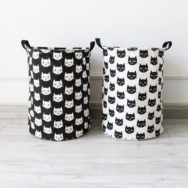 ROSEHOME 35*40 cm Zakka Wäschekorb Katze Muster Leinenstoff Barrel Wäschesäcke Ablagekorb für Schmutzige Kleidung kinder Spielzeug