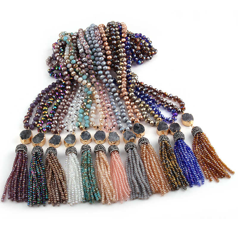 Fashion Bohemian Tribal Jewelry Multi Glass Knotted Druzy Link Crystal Tassel Necklaces Women Ethnic Necklace 24 color choose