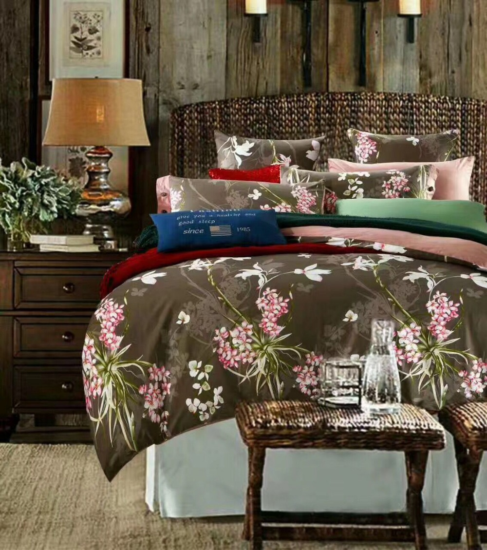 Brown bedding sets queen - Luxury Oil Print Brown Flower Bedding Set Queen Size 200 230cm Duvet Cover Flat Sheet
