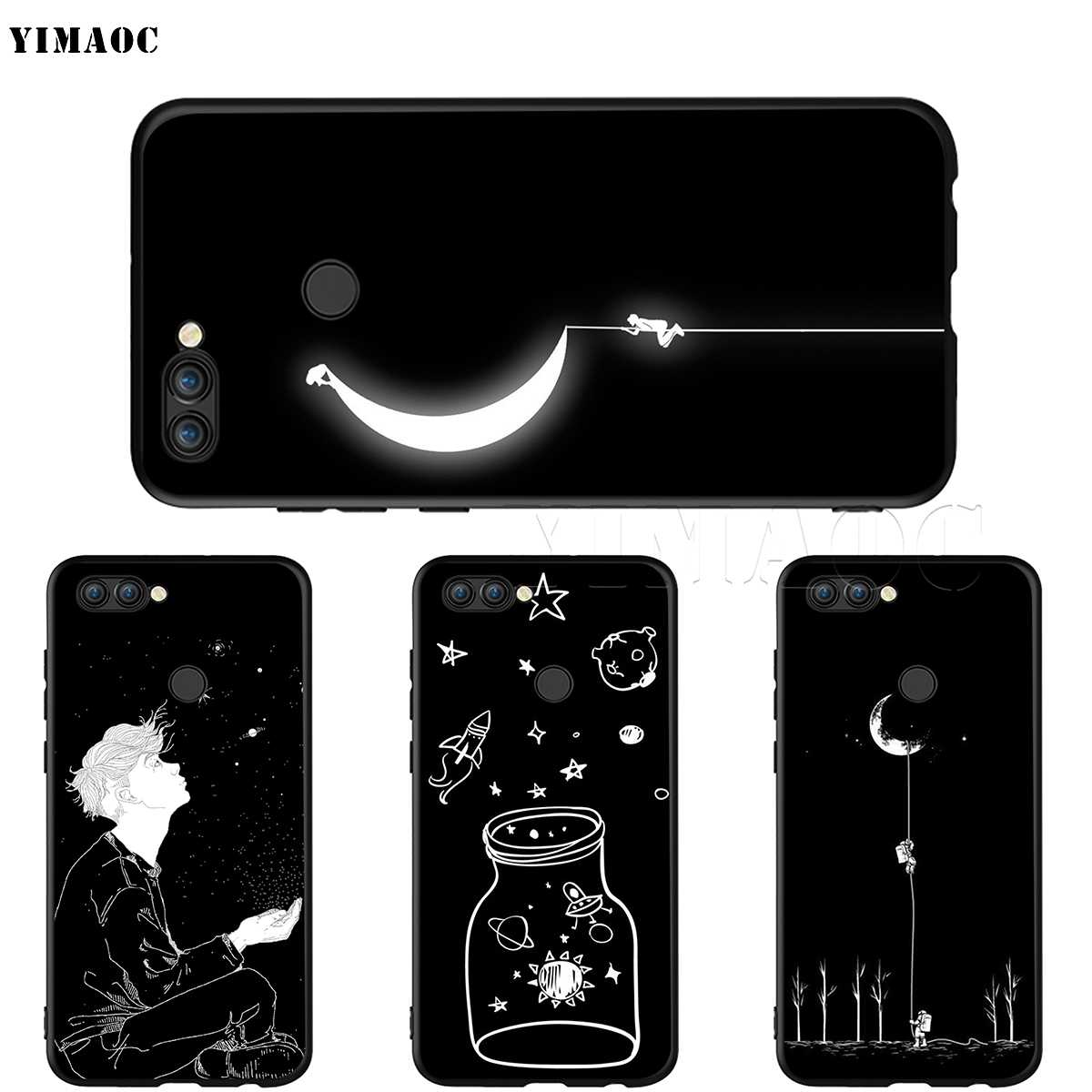 YIMAOC Black White Moon Stars Space Astronaut Case for Huawei Mate 10 P8 P9 P10 P20 P30 P Smart Lite Pro Mini 2017