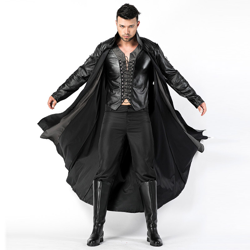 2018 New Adult Mens Halloween Vampire Costumes Faux Leather Outfits Fancy Party Devil Cosplay Dresses With Long Coat and Pants (1)