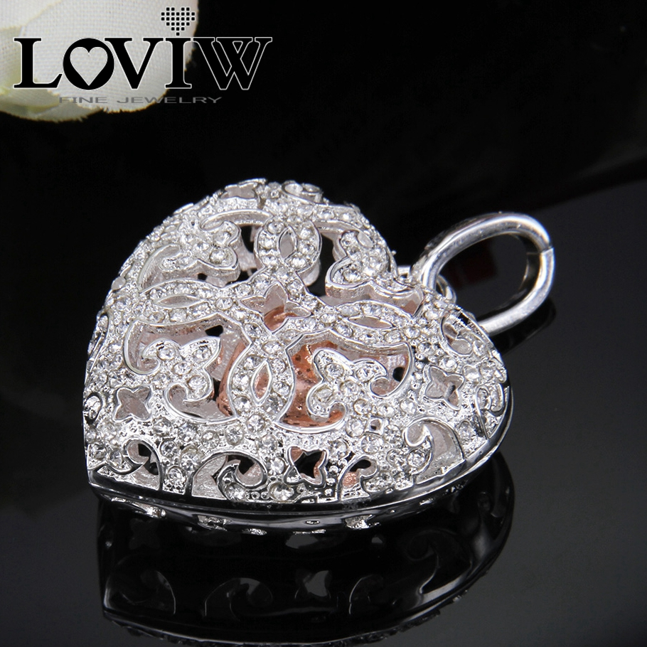 Vogue Openable Locket Heart with Rhinestone Pendant, 2017 Collection, Bijoux Jewelry Gift For Women 086