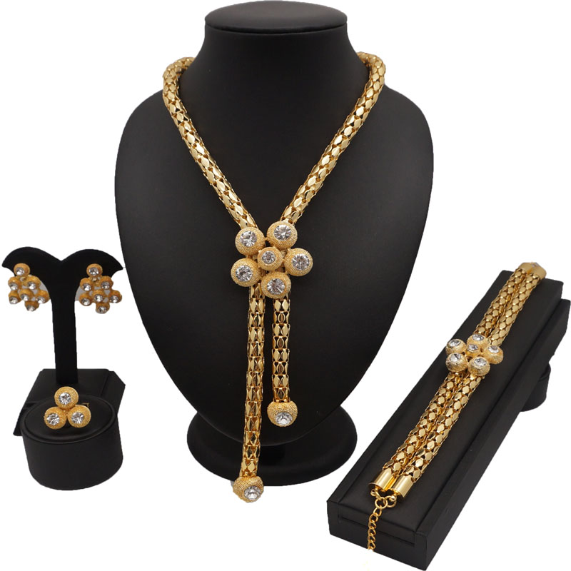 Us 11 12 20 Off Long Chain Jewelrysets Women Necklace High Quality Jewelry Sets African Costume Set Wedding Bracelet In