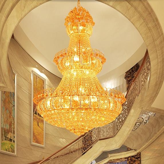 Zlate kristalne lusterje luči pritrditev velike moderne kristalne - Notranja razsvetljava - Fotografija 4