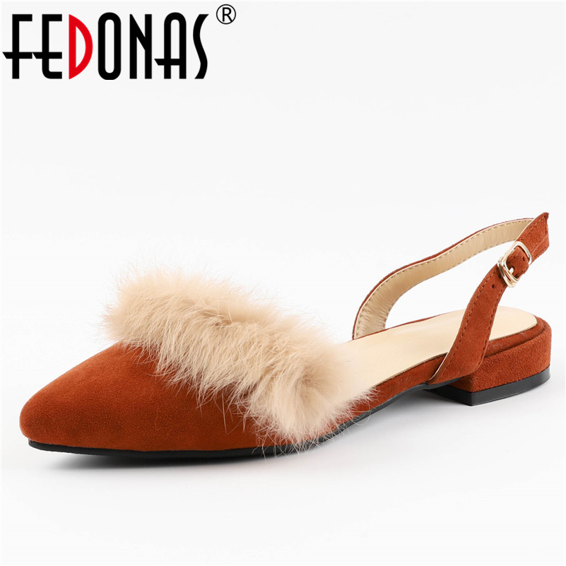 FEDONAS Women Sandals Elegant Low Heel Summer Sandals Genuine Leather Sexy Wedding Party Shoes Woman Buckles Females Sandals new women sandals low heel wedges summer casual single shoes woman sandal fashion soft sandals free shipping