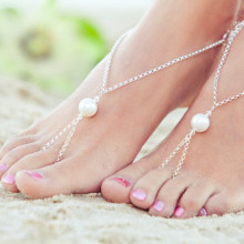 The New All match Footlet Summer Beach Beautiful Simple Exaggerated Pearl Fingerless Anklet