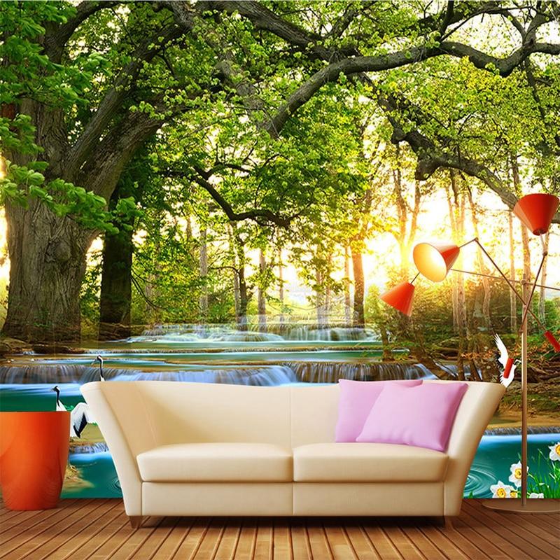 background stream landscape custom forest bedroom mural living creek 3d fresco waterproof paer wall
