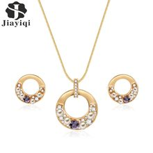 Jiayiqi Fashion Crystal Pearl Round Jewelry Set Necklace Earrings Statement Gold Color Wedding Jewelry Set(China)