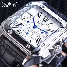цена на Jaragar Unique Square White Male Automatic Watches Date Roman Analog Mechanical Black Leather Strap Wristwatch Relojes De Marca