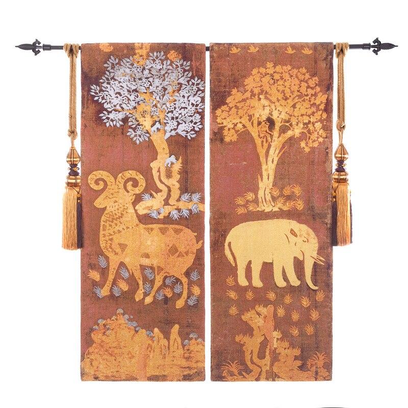 Haute-fin Coton Or Elephant Moutons Motif Jacquard Tapisserie tenture Tapisseries Belgique Art tapis de mur Chambre décoration d'intérieur
