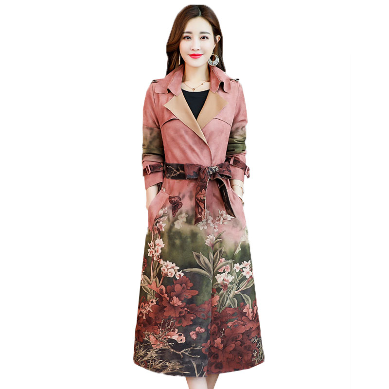 Autumn Suede Slim printing Trench Coat female long section spring new temperament women printed coat Blazer