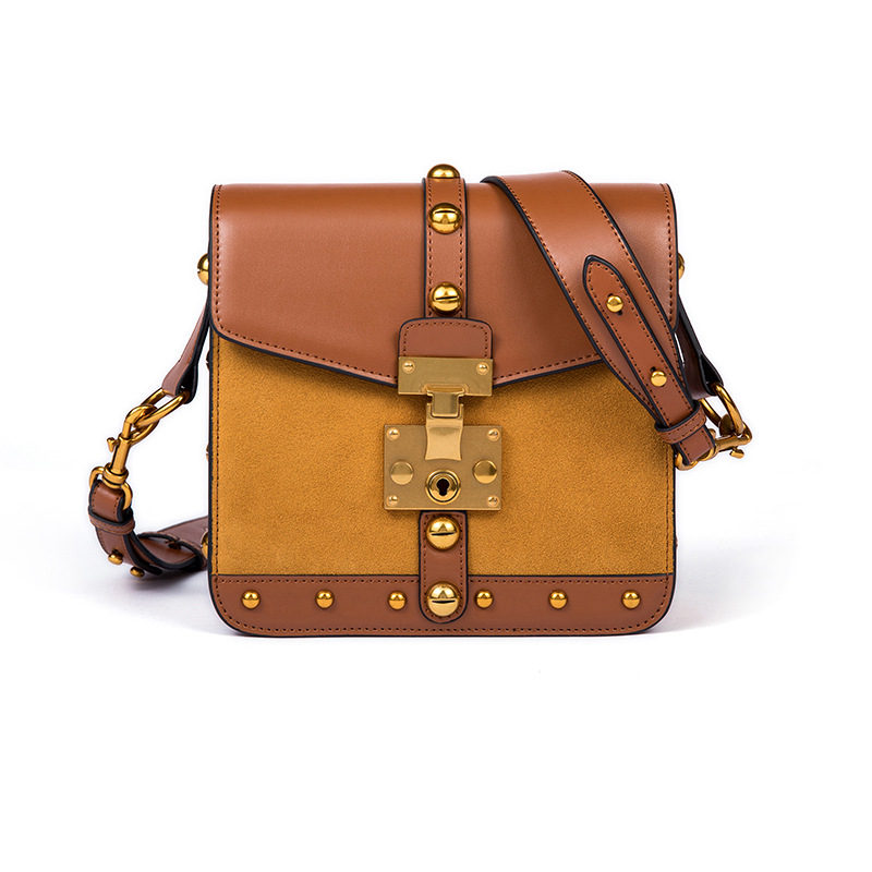 NEW genuine leather box flap women bag Vintage brand Suede cowskin gold rivets handbag high quality messenger bag Shoulder Bags vvmi 2016 new women handbag brand design rivet suede tassel bag chic classic vintage saddle bag single shoulder bag for female
