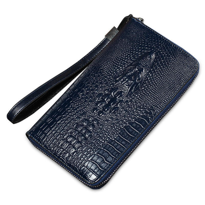 Prix pour HENGSHENG Hommes crocodile Fermeture Éclair longue conception Portefeuilles Multifonction Bourse Titulaire de la Carte d'embrayage Solide sacs d'argent brun foncé bleu noir
