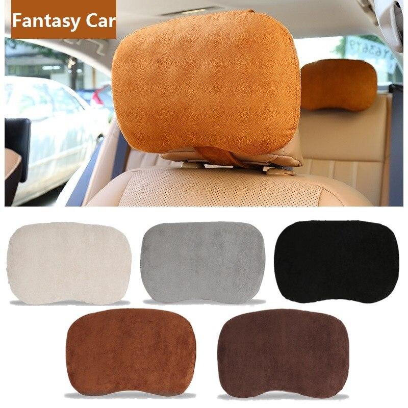Daim voiture cou protéger oreiller mémoire coton confortable Auto appuie-tête pour BMW Mini Cooper Benz Audi noir marron gris Beige