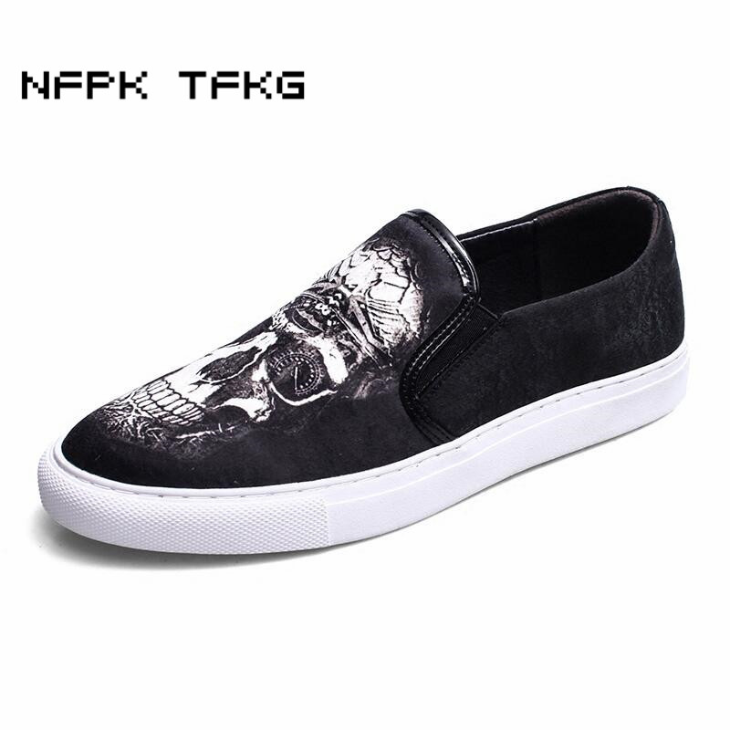 3D printing skull men fashion party banquet pig suede leather shoes flats platform loafers slip on