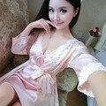 Women Silk bathrobe Kimono Robes Sexy Lingerie silk Nightgown Bathrobe Pijama Nightgown Sleepwear Sauna Costume robe sleep tops