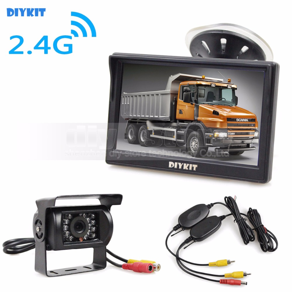 DIYKIT Wireless Waterproof CCD Reverse Backup Car Truck Camera IR Night Vision + 5 inch LCD Display Rear View Car Monitor купить недорого в Москве
