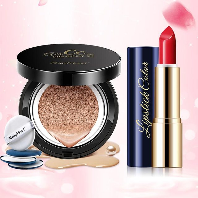 Makeup Kit Waterproof Lipstick Matte Long Lasting Lip Color &Pearl Ivory White Air Cushion CC Cream Whitening Foundation Make Up