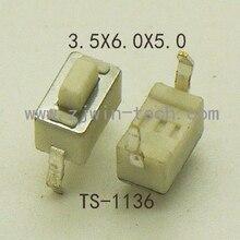 Tact Switch Power-Button White 2pin 3x6x5mm 260GF 50PCS Key DIP