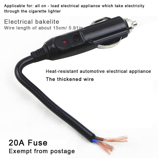 12V-24V Cigarette Lighter Connector Auto Universal Plug With Fuse Tube Power Supply Adapter Socket Car