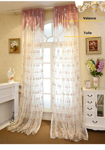 High quality elegant colorful small Floral embroidered bay Window Curtain  Tulle voile for Living Room Bedroom