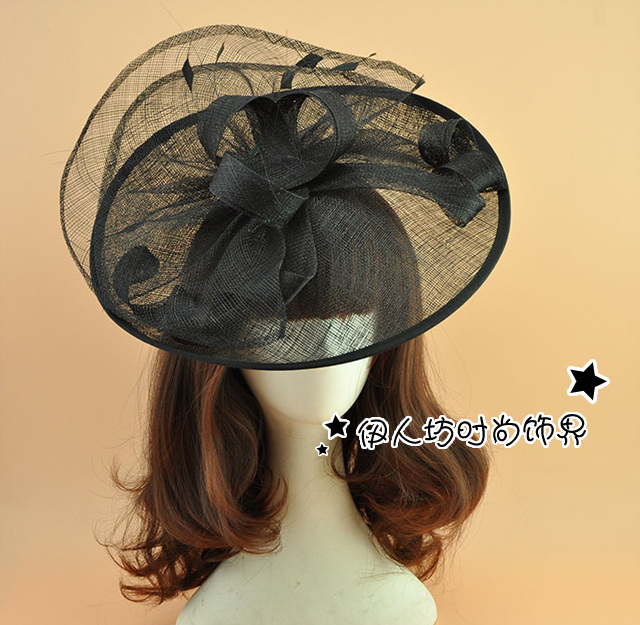Beige Black Bridal Hat Fascinator Vintage Woman Evening Hats Wedding Accessories Beading Hand Made Party Hair Wear