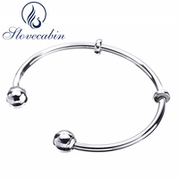 Slovecabin Friendship Open Bangles For Women Original 925 Sterling Silver Charms Bracelets & Bangles Female Silver 925 Jewelry