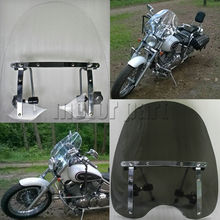 """Motorcycle Windshield  Windscreen For 19""""x17"""" Honda Shadow Spirit Sabre ACE Aero 1100 VLX 600 RS 750 With 7/8"""" And 1"""" Handlebars"""