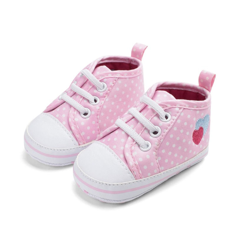 Baby Shoes Baby Kids Girls Heart-shaped Embroidered Cotton Shoes Elastic Band Polka Dot Printing Fabric Elastic Band First Walker Shoes Mother & Kids