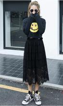 цены на New Korean Style Fashion Women Skirt Summer Sheer Floral Eyelash Lace Elastic High Waist Midi Skirt Saia Feminina White/Black  в интернет-магазинах