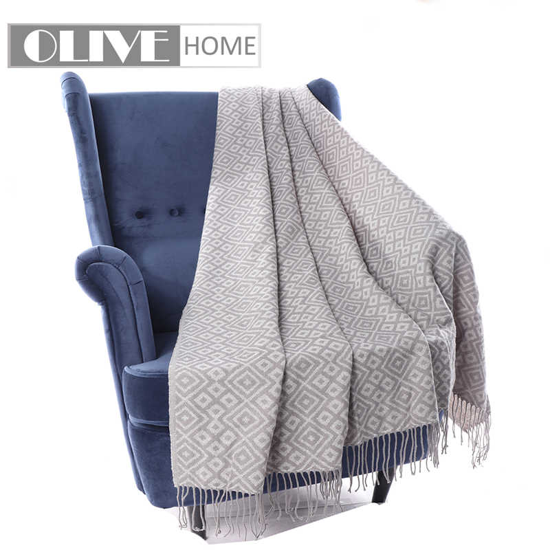 Grey Patterned Throw Blanket