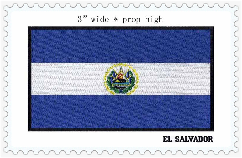 EL SALVADOR flags 3 wide iron on patch/blue color/flowers/sewing on
