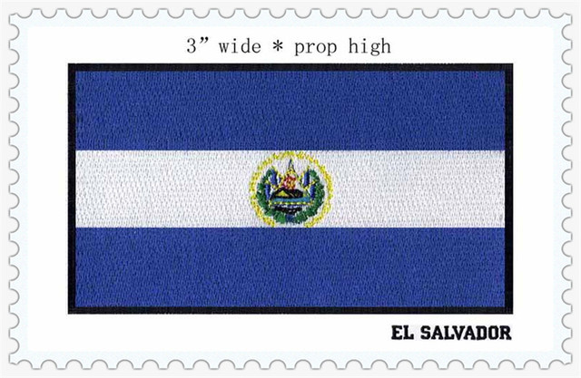 "EL SALVADOR bendera 3 ""lebar besi di patch/warna biru/bunga/jahit on"
