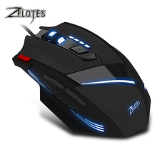 ZEALOT T-60 Wired Gaming Mouse 7 button 3200 DPI 4 Color LED Light Optical USB Computer Gamer Mice for PC laptop 7 button wired mechanical macros define gaming mouse 3200 dpi for laptop pc micemouse gamer