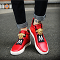 Новая Мода Высокие Верхние Мужчины Повседневная Обувь Суперзвезда Мужские Леопарда Головы Дышащий Дамские Мягкие Кожаные Красные Квартиры Sapatos Casuais