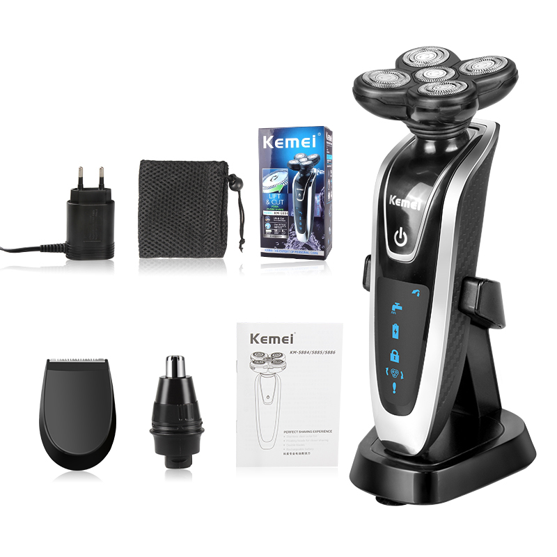 Kemei 3 in1 Electric Shaver Multifunctio Rechargeable 5 Blade Washabl Electric Shaving Razors Men Face Care 5D Floating 5886 clearance original 3 in1 washable rechargeable electric shaver triple blade electric shaving razors men face care 5d floating