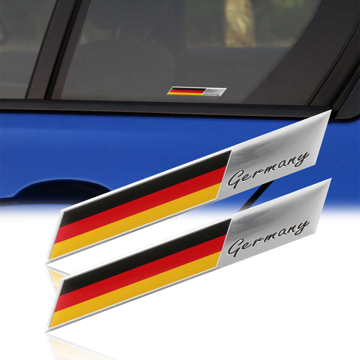 2 pièces/lot 3D allemagne drapeau Badge emblème Deutsch voiture autocollant décalcomanie Grille pare-chocs fenêtre corps décoration pour Audi pour BMW pour VW
