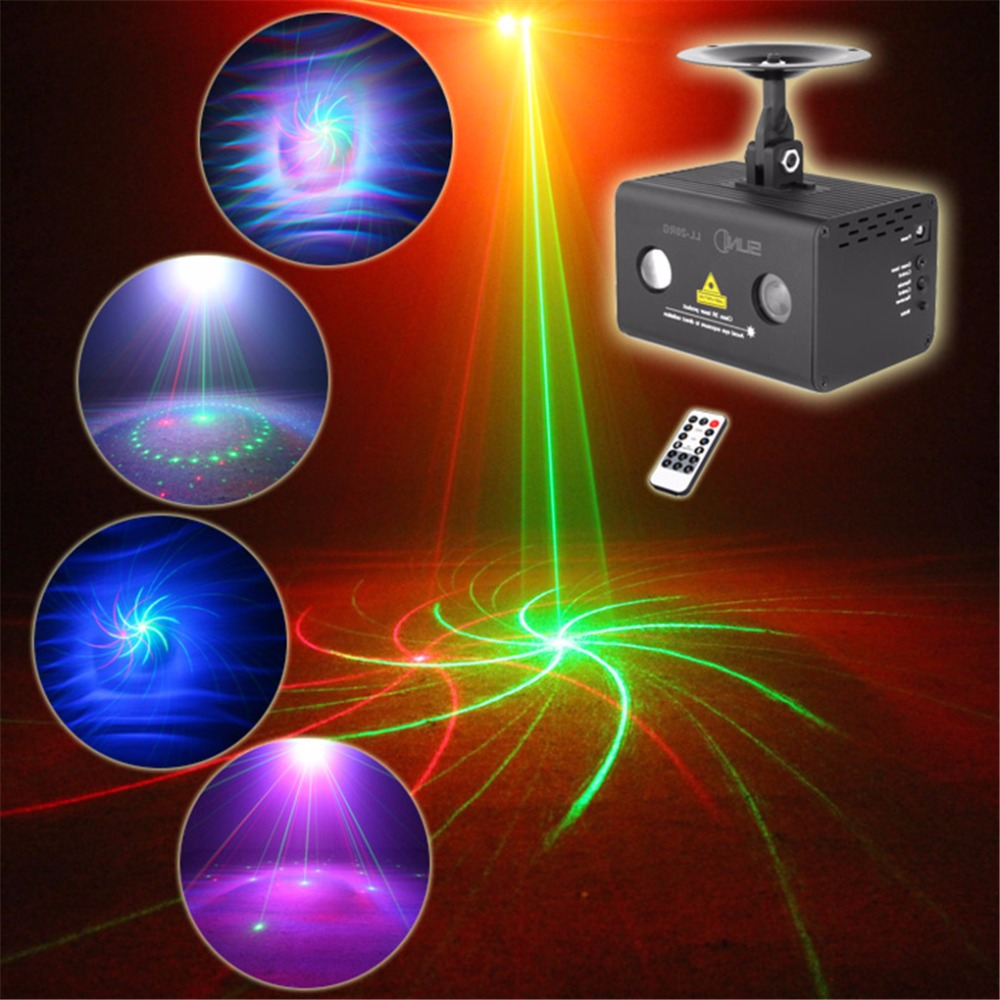 AUCD Mini Remote 9 RG Patterns Laser Lighting Water Galaxy RGB LED Stage Light Projector Mix Aurora Effect Party DJ Home LL-09RG aucd mini remote 24 patterns rg red green laser effect projector 3w blue led light dj home party wedding stage lighting z24rg