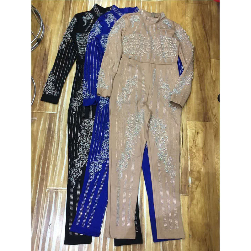2018 Newest Fashion Blue Beige Black Women Jumpsuit Elegant Long Sleeve Bodycon Sexy Night Out Solid Summer Jumpsuits Wholesale