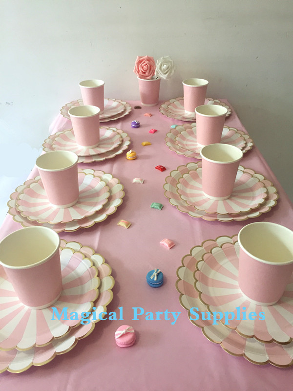 bridal shower party tableware set for 16 people with pink and gold paper plates cup napkin table cloth ridal shower decorations in disposable party