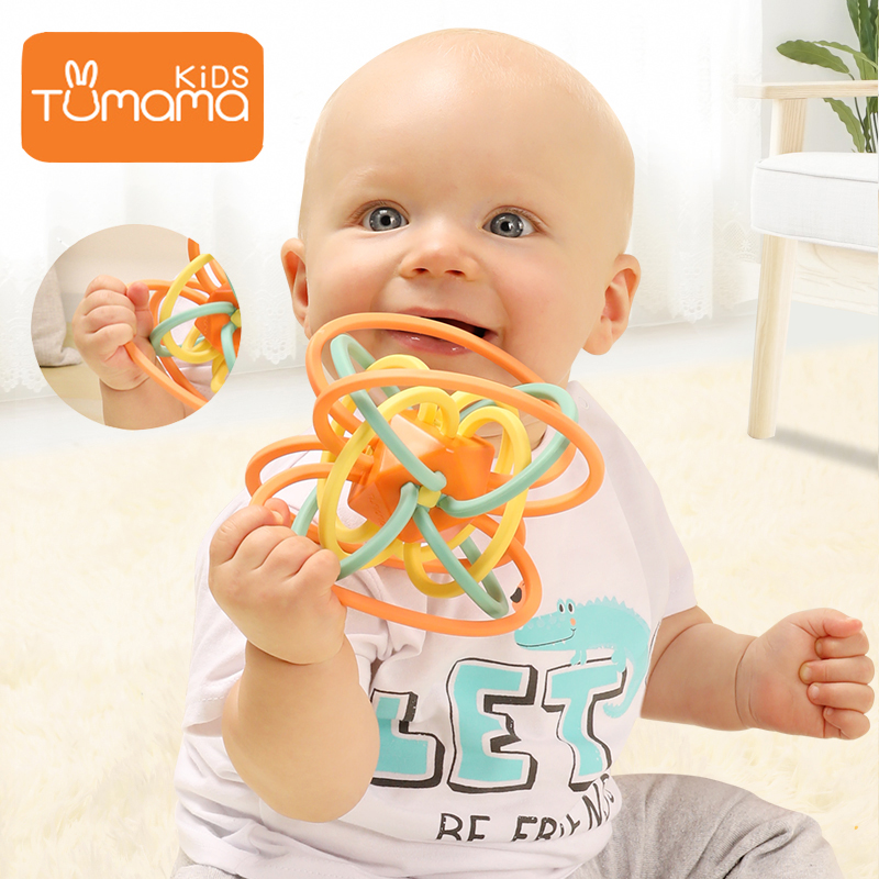 Tumama Baby Rattles Silicone DIY Educational Multilateral Rattle Ball With Rattles For Baby Handbell With Teether For Newborns