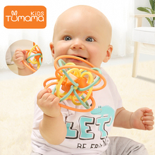 Tumama Baby Rattles Silicone DIY Educational Multilateral Rattle Ball With For Handbell Teether Newborns